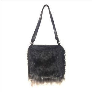 Faux fur black and white umbre bag.